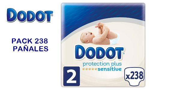 Pack 238 pañales recién nacido Dodot Protection Plus Sensitive Talla 2 (4-8 kg) barato en Amazon
