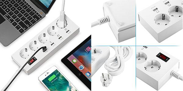 Regleta inteligente con 5 enchufes y 4 USB barata