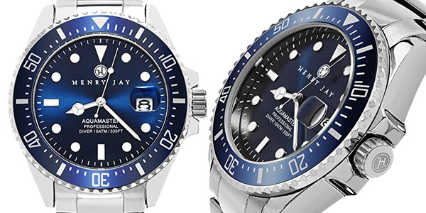 Reloj analógico Henry Jay Specialty Aquamaster de acero inoxidable para hombre barato en Amazon