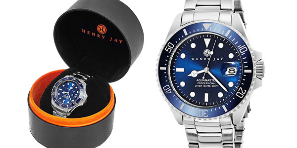 Reloj analógico Henry Jay Specialty Aquamaster de acero inoxidable para hombre chollazo en Amazon