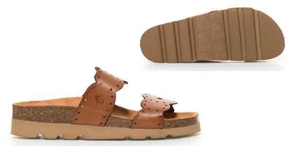sandalias casuales para mujer en cuero camel Yokono Denim chollo