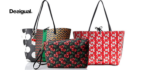 Bolso shopper reversible 3-en-1 Desigual Lola Patch para mujer barato en Amazon