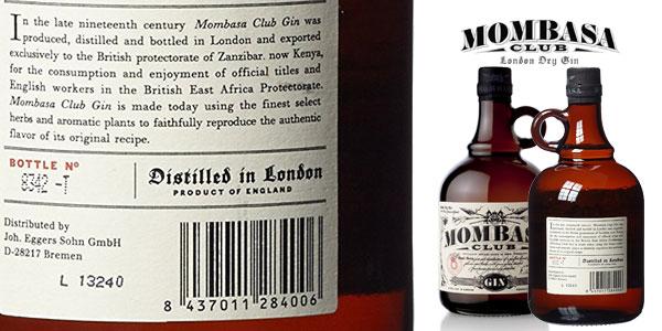Botella de Ginebra Mombasa Club de 70 cl chollo en Amazon