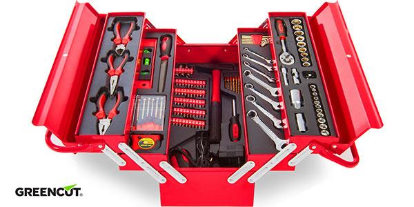 Maletín Greencut con 118 herramientas de acero cromo vanadio en oferta