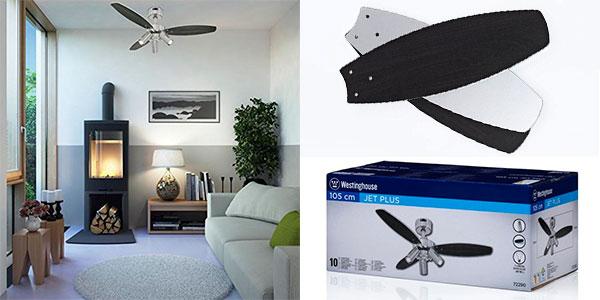 Chollo Ventilador de techo Westinghouse Jet Plus con aspas reversibles y focos de luz E14
