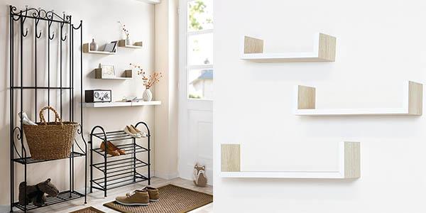 estanterías de madera natural para almacenaje en casa baratas