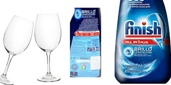 gel lavavajillas Finish Todo en 1 con 2 botellas de 100 lavados chollo