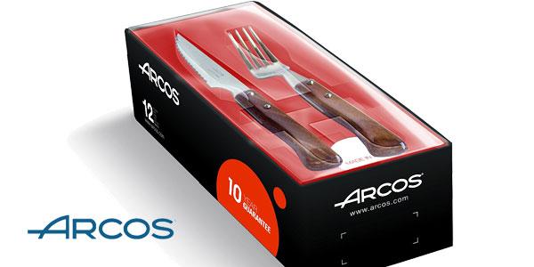 Juego de cuchillos y tenedores chuleteros Arcos 377700 de 12 piezas barato en Amazon
