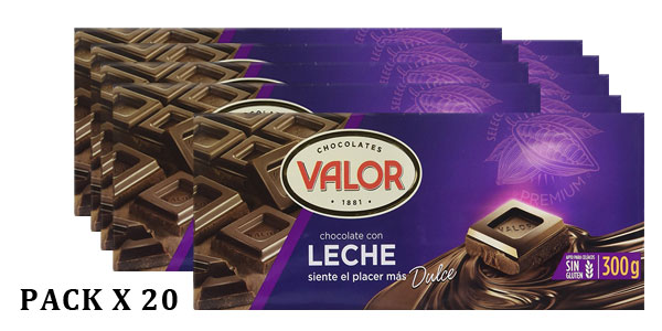 Pack de 20 tabletas de chocolate con leche Valor de 300 gr cada una barato en Amazon