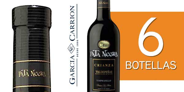 Pack de 6 botellas Vino tinto Pata Negra Crianza Valdepeñas chollo en Amazon