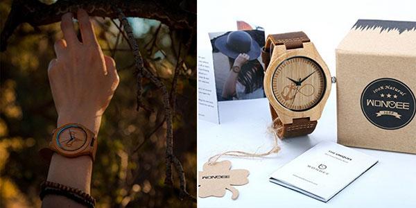 Relojes unisex de madera de bambú con correa de piel natural en varios diseños chollazo en Amazon