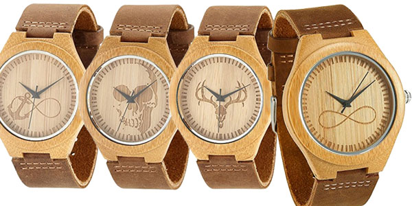 Relojes unisex de madera de bambú con correa de piel natural en varios diseños baratos en Amazon
