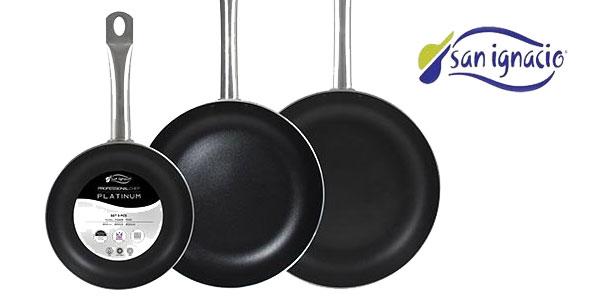 Set de 3 sartenes de aluminio prensado San Ignacio Professional Chef Platinum para todo tipo de cocinas chollazo en Amazon