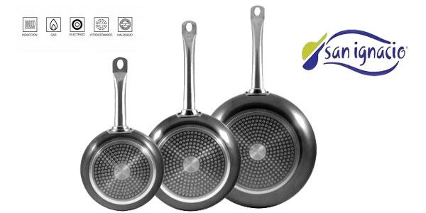 Set de 3 sartenes de aluminio prensado San Ignacio Professional Chef Platinum para todo tipo de cocinas chollo en Amazon