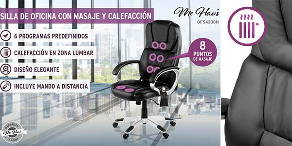 sillón de oficina McHaus con función masaje y calefacción en respaldo y asiento barato