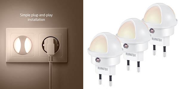Avantek pack de 3 luces LED con sensor de oscuridad barato