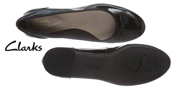 Bailarinas Clarks Couture Bloom en charol negro para mujer chollo en Amazon
