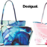 Bolso shopper reversible Desigual blue Palms Capri para mujer barato en Amazon