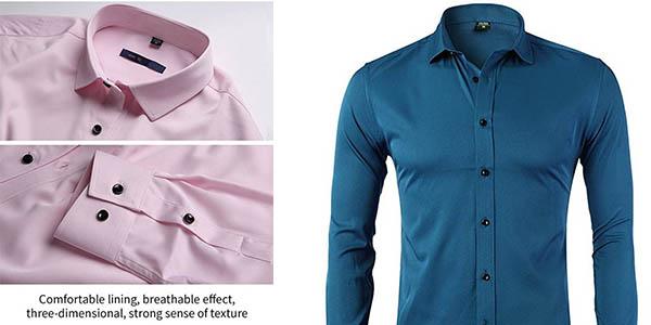 camisa elegante satinada para hombre en oferta