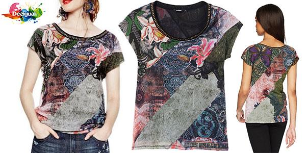 Camiseta Desigual Denes de manga corta con estampado étnico para mujer barata