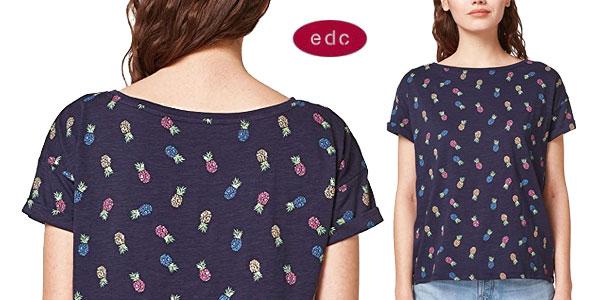 Camiseta estampada edc by Esprit de manga corta en color azul para mujer barata en Amazon