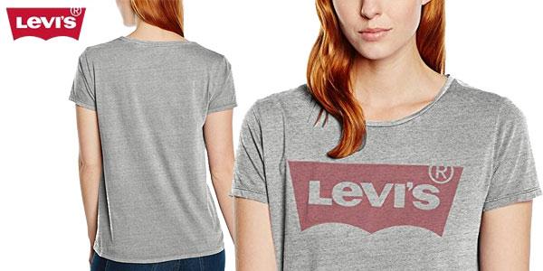 Camiseta Levi's The Perfect tee de manga corta en color gris para mujer barata en Amazon