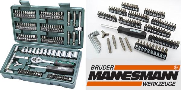 Chollo Maletín Mannesmann M29166 de 130 piezas (llaves de vaso y puntas de destornillador)