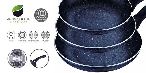 Chollo Set San Ignacio de 3 sartenes de aluminio prensado