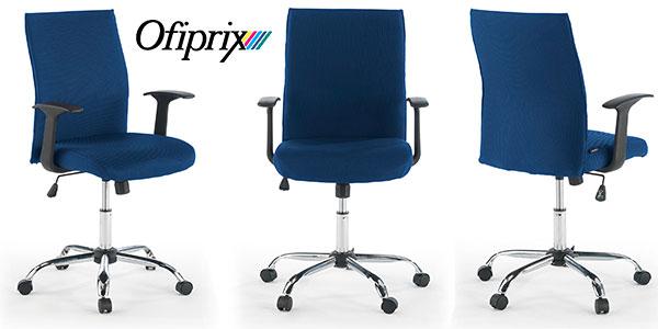 Chollo Silla giratoria de oficina Ofiprix Roma tapizada de color azul con altura ajustable
