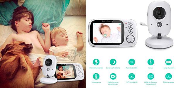 """Chollo Vigilabebés GHB inteligente inalámbrico con pantalla LCD de 3.2"""" y visión nocturna"""