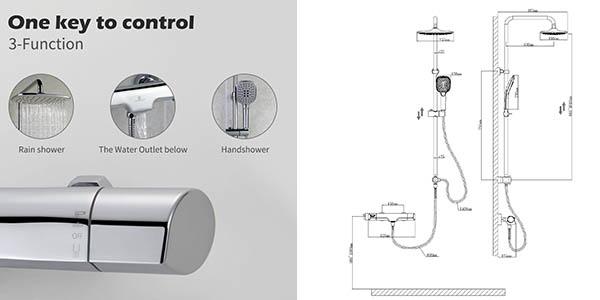 grifo con termostato para ducha y bañera con 3 modos de chollo en oferta