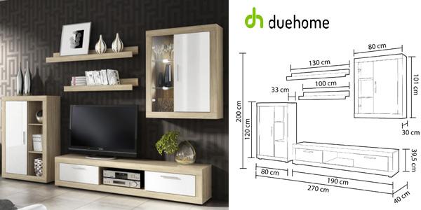 Mueble salón comedor Duehome Ocean en roble y blanco con vitrina chollo en eBay