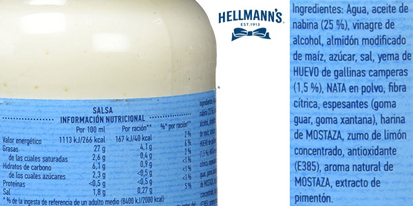 Pack de 12 botes de mayonesa Light Hellmann's (225gr/ud) chollazo en Amazon
