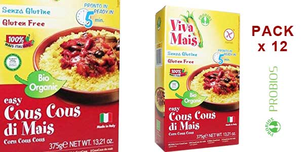 Pack 12 paquetes x 375 gr Probios Easy Cuscús de Maíz sin Gluten barato en Amazon