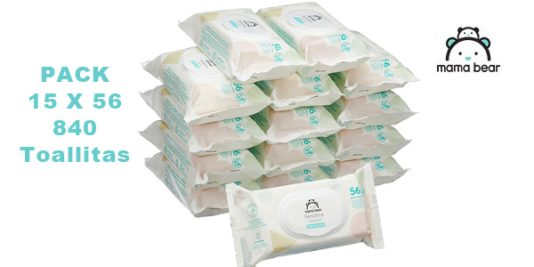 Pack de 15 paquetes de Toallitas húmedas para bebé Amazon Mama Bear Sensitive (840 toallitas) chollazo en Amazon