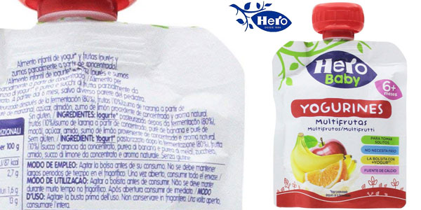 Pack de 18 x 80 gr Yogurines Multifrutas Hero Baby chollo en Amazon