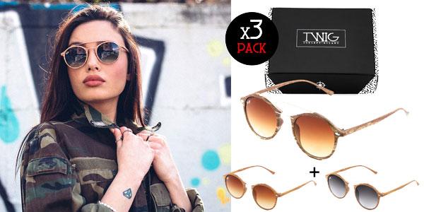Pack 3 Gafas de sol unisex Manet efecto madera de Twig Concept Milano chollo en eBay