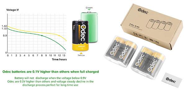 pack de 4 pilas de larga duración recargables con gran relación calidad-precio