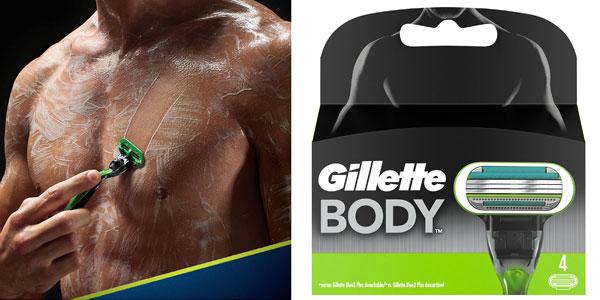 Pack de 4 Recambios Gillette Body cuchillas para depilar para hombre barato en Amazon