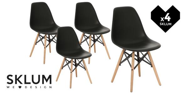Pack de 4 sillas de diseño retro nórdico X en muchos colores baratas en eBay