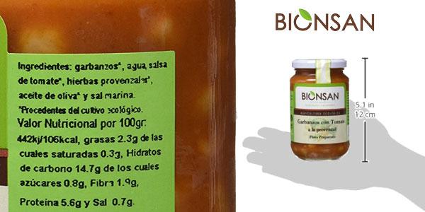 Pack 6 Botes x 220 gr Bionsan Garbanzos con Tomate a la Provenzal chollo en Amazon