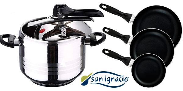 Pack San Ignacio de olla a presión de 7 litros y 3 sartenes de aluminio barato