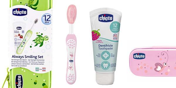 set dental Chicco con cepillo y pasta de dientes para niñ@s en oferta