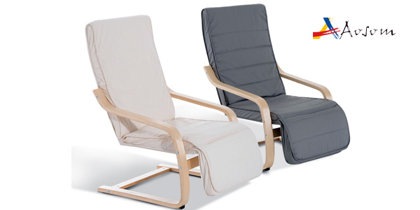 Chollo sill n de relax multiposici n de madera de abedul for Sillon relax madera