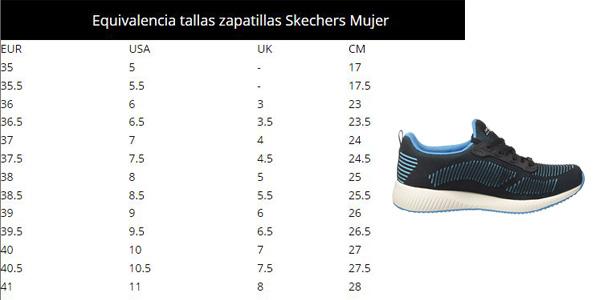 Guía de Tallas Zapatillas Skechers Bobs Squad-Twinning sin cordones para mujer oferta en Amazon