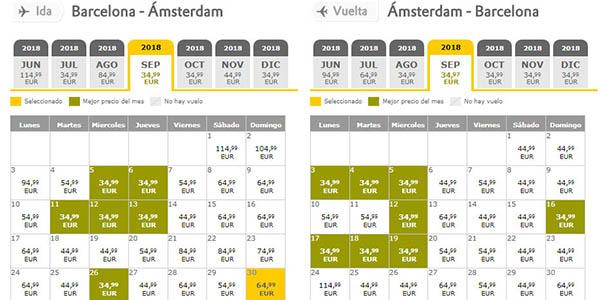 Vueling calendario de precios con los vuelos de un destino determinado
