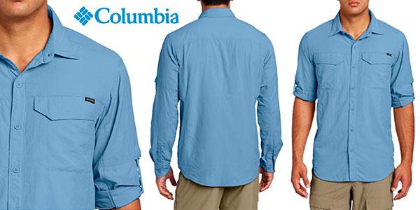 Camisa de manga larga Columbia Silver Ridge azul para hombre barata