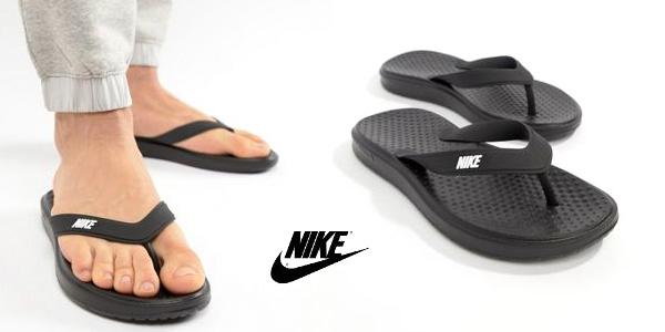 Chanclas Nike Solay clásicas en color negro para hombre chollo en Asos