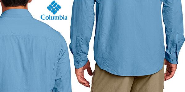 Chollo Camisa de manga larga Columbia Silver Ridge AM7453 azul para hombre