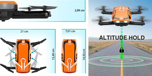 Chollo Minidrone plegable H818 RC de 6 ejes con Wi-Fi y cámara HD